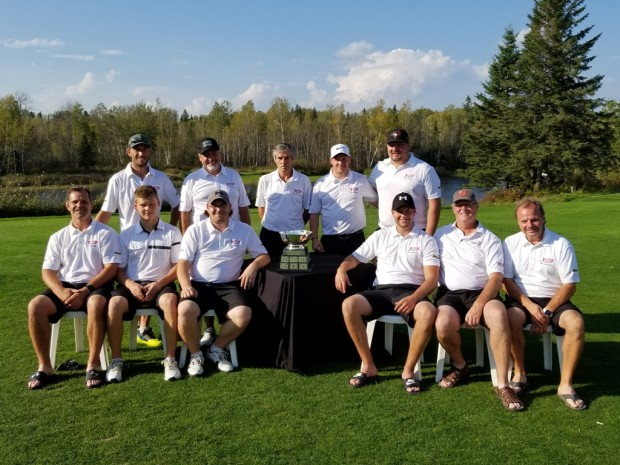Hollinger Wins 2017 Bob Barrette Memorial Ryder Cup. Front Row (left to right) John Elliott, Chris Cooke, Eric Martineau, Mike Bilodeau, David MacInnes & Frank Seguin. Back Row - Shawn Dillon, Guy Ginter, Bob Chasse, Greg Lecky & Owen Rigg (absent - Joey Merenda)